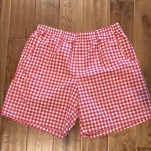 Men's Columbia Backcast red/white shorts L8in NWOT